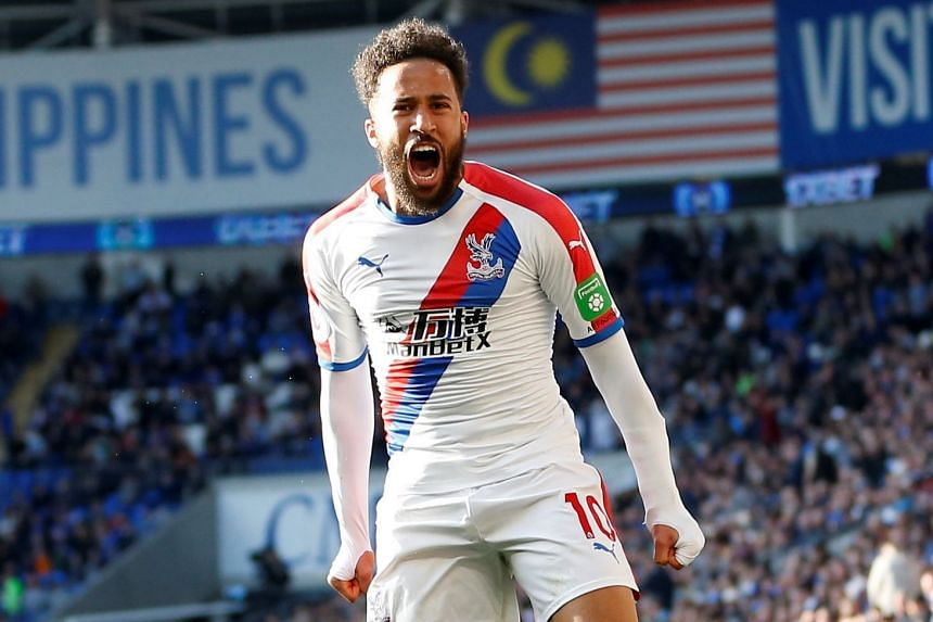 Crystal Palace's Andros Townsend celebrates scoring their third goal.