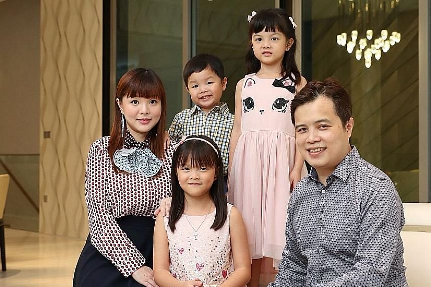 Azure Capital founder Terence Wong with his wife Mindy Fang and their daughters Aurora (seated) and Evabelle, and son Alcide. Mr Wong has spoken to over 35,000 investors over the past 20 years and wants to continue to arm investors with investment kn