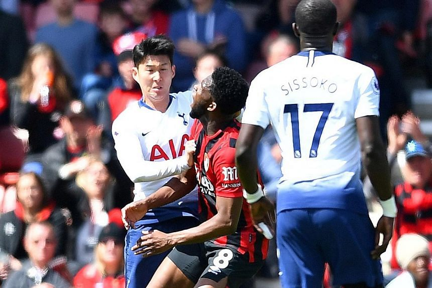 Tottenham's Son Heung-min pushing Bournemouth's Jefferson Lerma after 42 minutes, earning a straight red card. Spurs substitute Juan Foyth was also sent off, in the 48th minute.