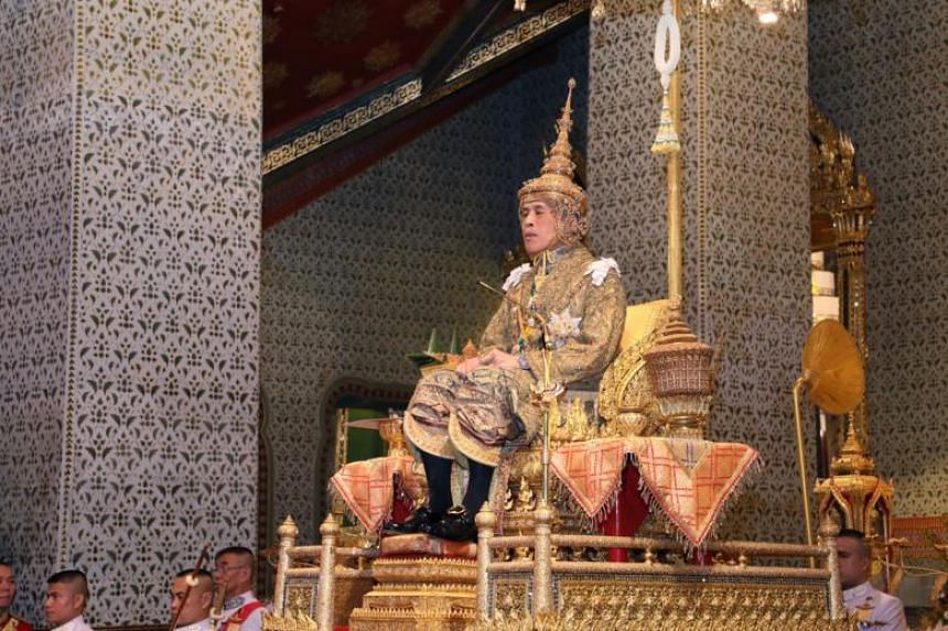 Thai King Maha Vajiralongkorn Bodindradebayavarangkun sitting on the throne during his coronation ceremony at the Grand Palace in Bangkok, Thailand, on May 4, 2019.