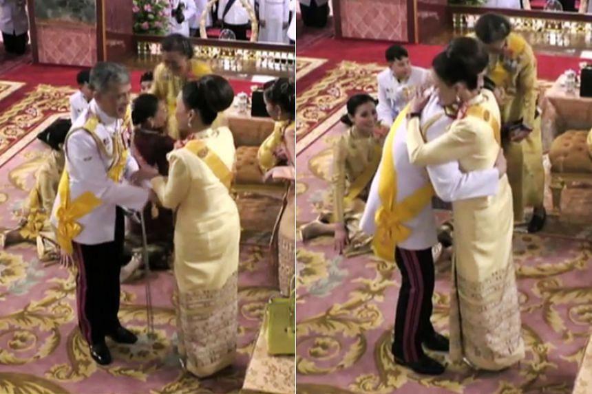 Thailand's King Maha Vajiralongkorn hugs his sister, Princess Ubolratana, during a ceremony in the Grand Palace in Bangkok on May 3, 2019, ahead of his royal coronation.