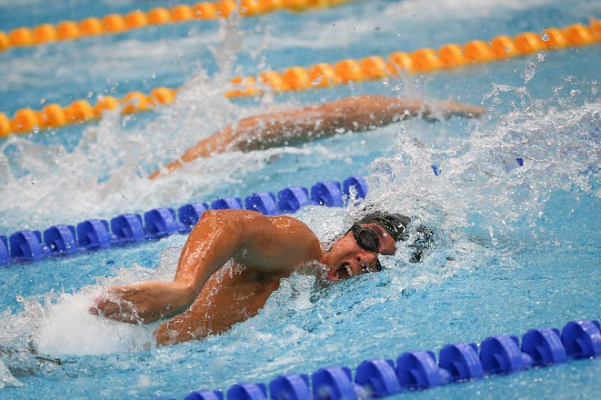 Toh Wei Soong in action during the men's 50m freestyle event at the SPH Foundation National Inclusive Swimming Championships 2019 on May 5, 2019.