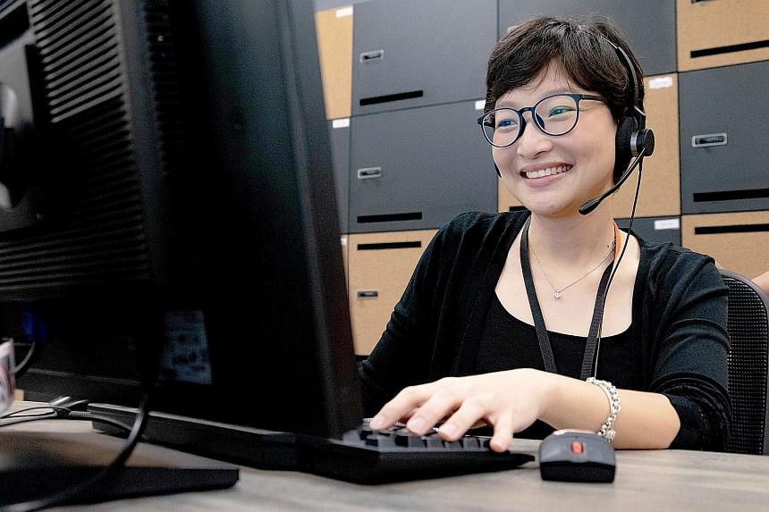 DBS Bank's Ms Lee Pei Ying underwent two half-day training sessions to learn how to engage with customers through the bank's live chat function.