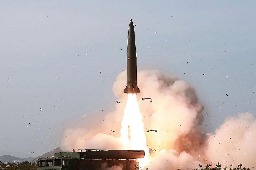 North Korea testing weapons at an undisclosed location in the country last Saturday, in a photo released by the official Korean Central News Agency. The live-fire military exercise potentially included the North's first ballistic missile launch since
