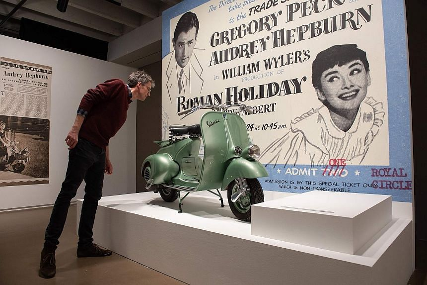 The scooter used in 1953 classic film Roman Holiday at the exhibition.