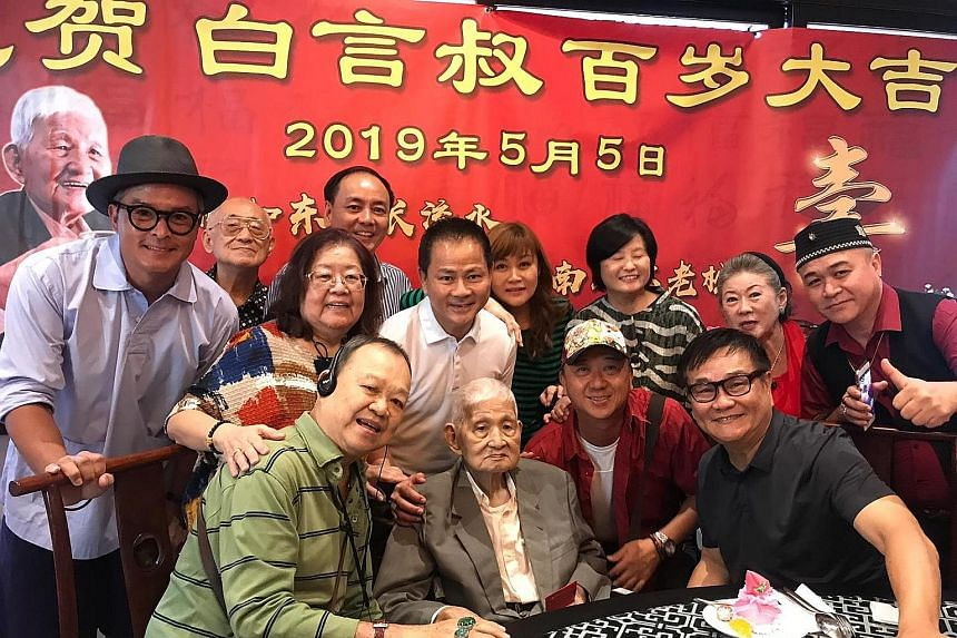 Bai Yan (seated in centre) with attendees at yesterday's lunch, including actors such as Christopher Lee, Yang Libing and Jin Yinji, and one of the organisers, former veteran journalist Kwan Seck Mui.