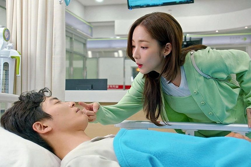 Kim Jae-wook and Park Min-young romance each other in the South Korean drama Her Private Life.