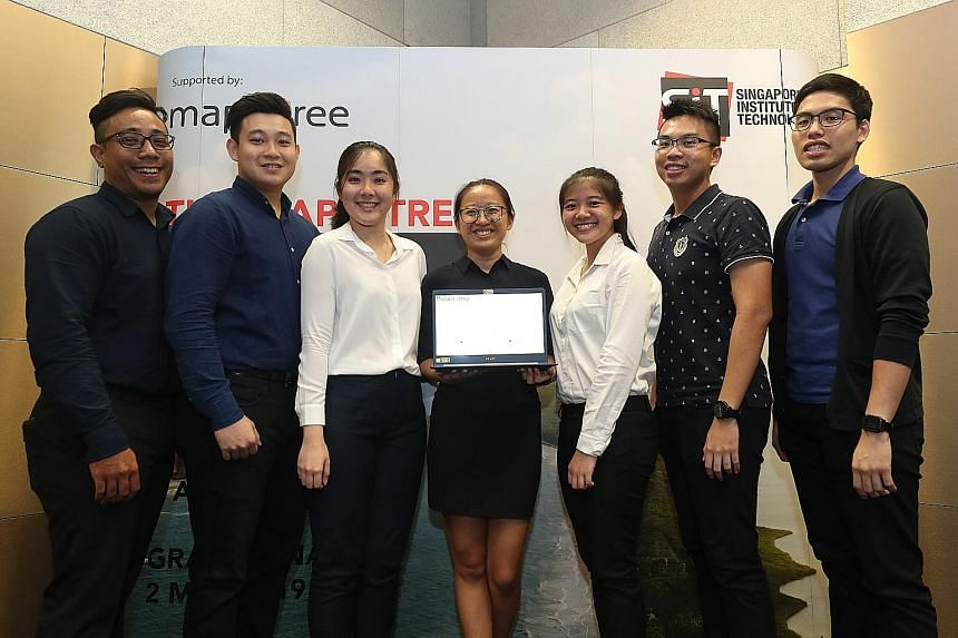 The team of first-year nursing students - (from left) Abdul Rafi Abdul Rahman, 26; Kang Xun, 25; Joanne Chua, 23; Lui Zhi Ting, 22; Ang Zi Qing, 21; Koh Thong Wu, 24; and Tan Hong Da, 24 - came up with the winning design after observing that nurses a