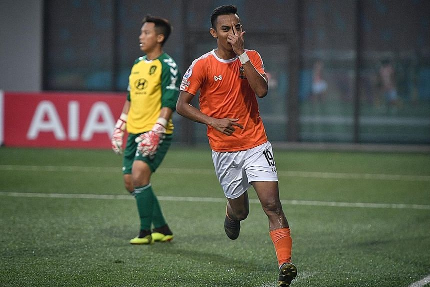 A delighted Faris Ramli after scoring his second goal of the match. It was also his eighth goal of the season.