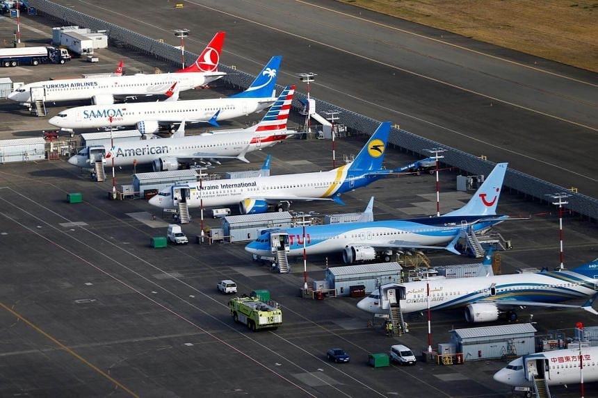 Several Boeing 737 Max airplanes grounded at Boeing Field in Seattle, Washington, US, on March 21, 2019.