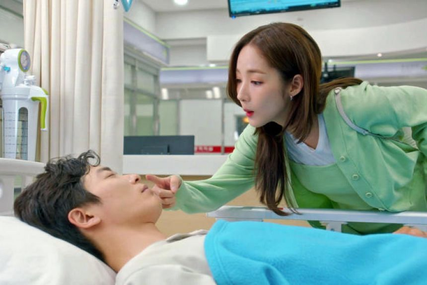 Park Min-young and Kim Jae-wook romance each other in the South Korean drama Her Private Life.