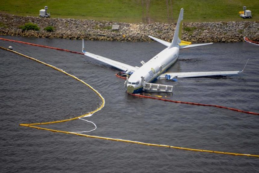 The plane carrying 143 people slid off the runway after a hard landing at a naval air station in Jacksonville during a lightning storm on May 4, 2019.