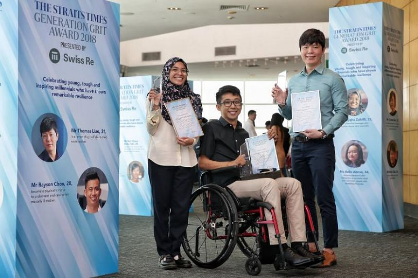 (From left) Ms Zulayqha Zulkifli, Mr Wong Zi Heng, and Mr Thomas Liao were honoured with the inaugural The Straits Times Generation Grit Award 2018.