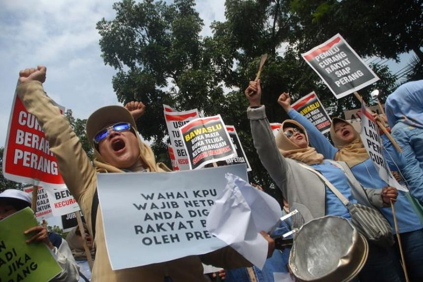 Protesters demanding the National Commission of Elections to be fair, as the tally of votes for the recent general election continues, in Bandung, Indonesia, on April 29, 2019.