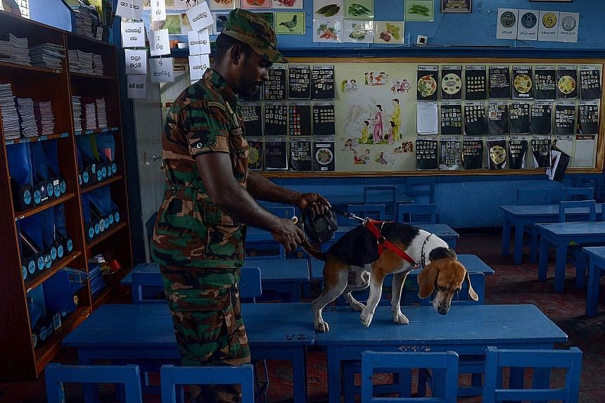 A Sri Lankan bomb disposal squad officer using a sniffer dog to check for explosives at a school in Colombo on Sunday, ahead of the reopening of all public schools after an extended Easter holiday. Schools reopened to near-empty classrooms yesterday,
