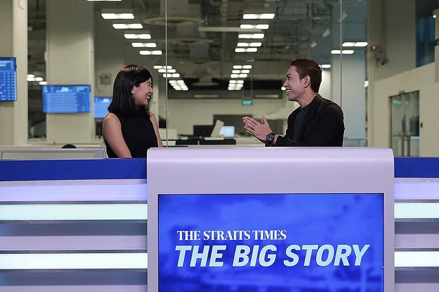 ST travel correspondent Clara Lock chatting with multimedia journalist Hairianto Diman about couch-surfing in Singapore during the first episode of The Big Story yesterday. The talk show will be broadcast every weekday.