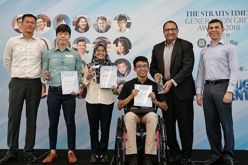 The Straits Times Generation Grit Award 2018 winners (from second from left) Thomas Liao, Zulayqha Zulkifli and Wong Zi Heng with Minister for Communications and Information S. Iswaran at the award ceremony yesterday. With them are Swiss Re's Singapo