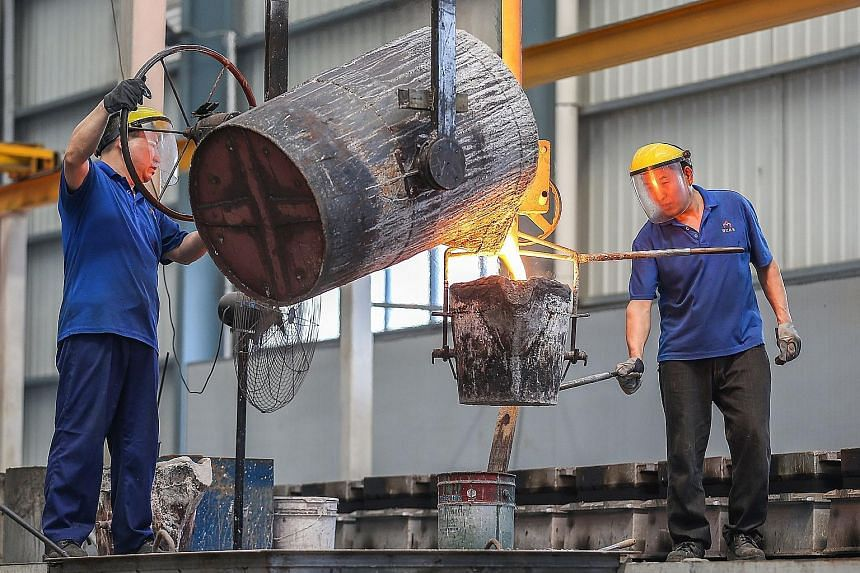 A worker pouring molten steel at a factory in Jinjiang, China's Fujian province. Steel exports are among a wide range of Chinese goods that have been hit with tariffs imposed by President Donald Trump, and the proposal to levy new tariffs would cover