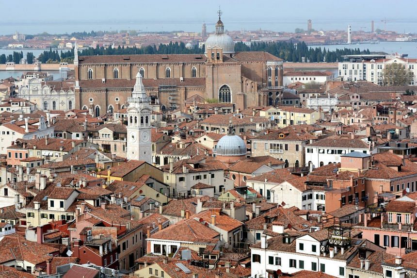 View of Venice, Italy from the bell tower of St Mark's Square.