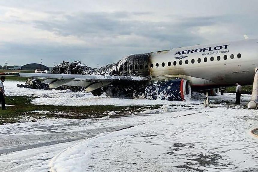 Destroyed fuselage at the site of a fire of a Russian-made Superjet-100 at Sheremetyevo airport outside Moscow, following its crash on May 5, 2019.