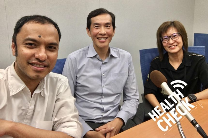 Health Check podcast hosts Ernest Luis (left) and Joyce Teo (right) host Prof Michael Chee (centre), the director of the Centre for Cognitive Neuroscience at the Duke-NUS Medical School, a prominent sleep expert who has been studying sleep-deprived S