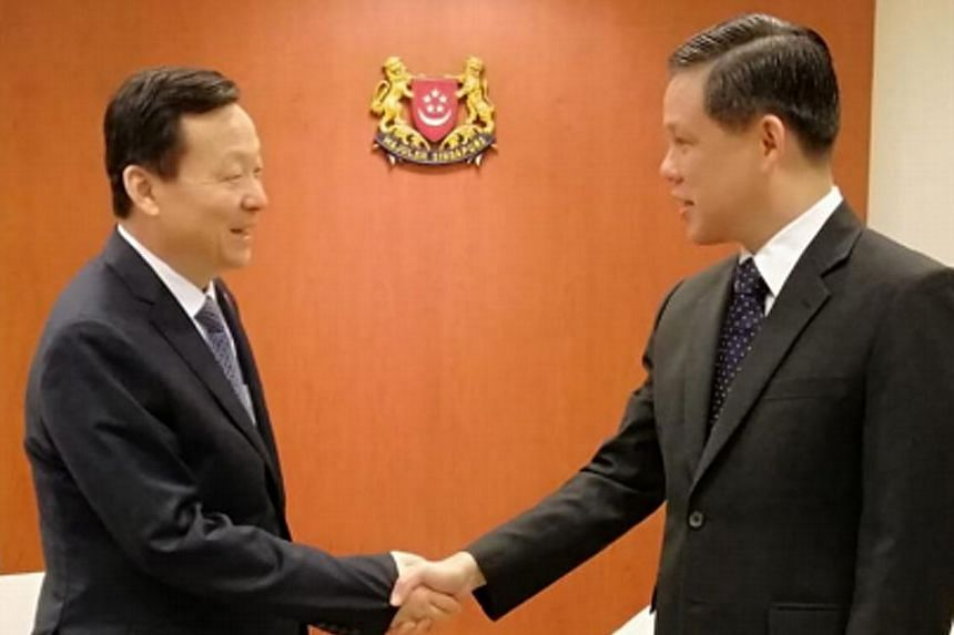Trade and Industry Minister Chan Chun Sing (at right in picture) and Suzhou Party Secretary Zhou Naixiang reaffirming the longstanding and warm ties between Singapore and Suzhou yesterday. They discussed how both sides will continue to deepen bilater