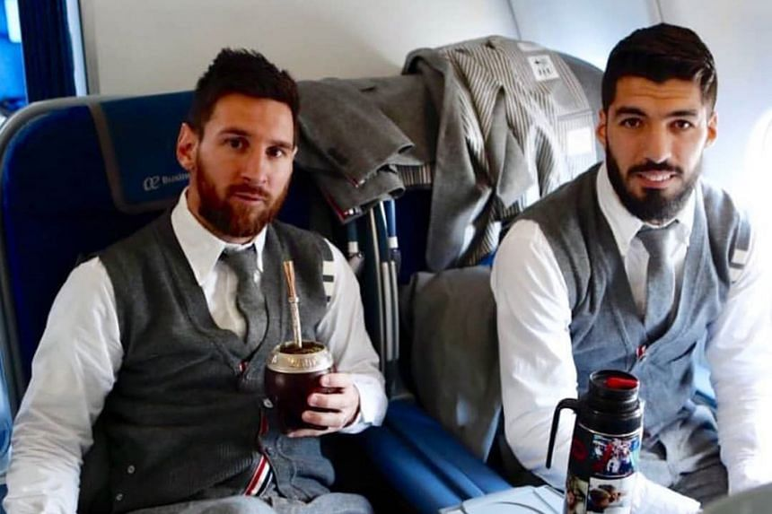 Lionel Messi and Luis Suarez, Liverpool's tormentors in the first leg after they scored all three goals, on board the plane to England. PHOTO: INSTAGRAM/ BARCELONA-HD