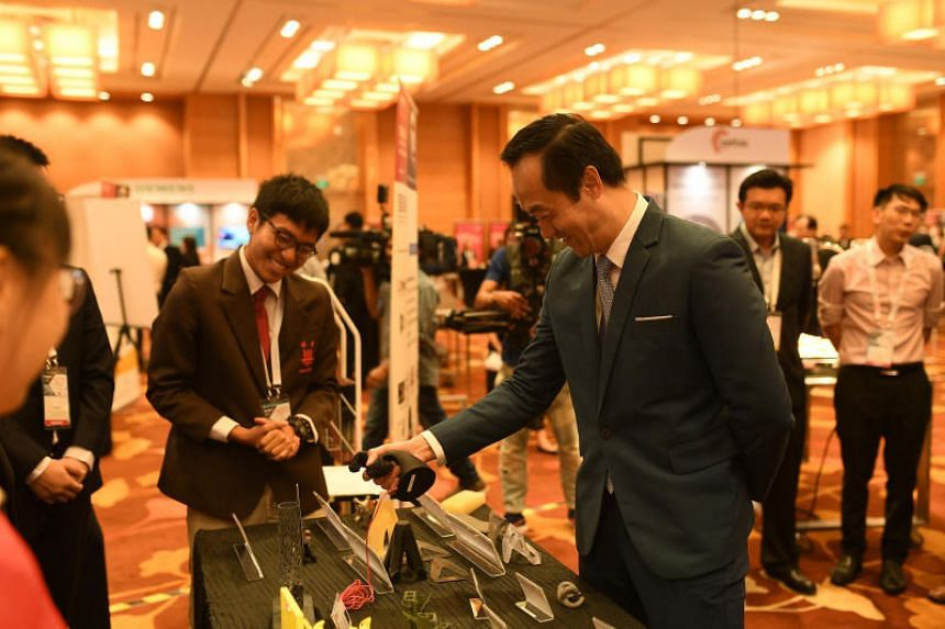 Senior Minister of State for Trade and Industry Koh Poh Koon at the 3D-printing, or additive manufacturing, summit, hosted by the National Additive Manufacturing Innovation Cluster.
