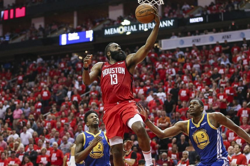 Houston Rockets' James Harden shoots the ball during the game against Golden State Warriors at the Toyota Center, on May 6, 2019.
