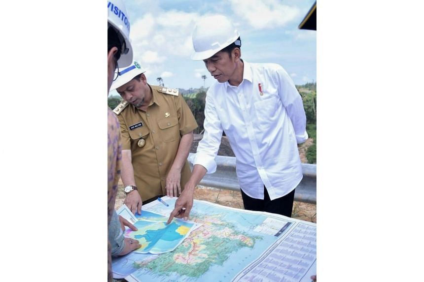 Indonesian President Joko Widodo at a possible site for Indonesia's new administrative capital in East Kalimantan, on May 7, 2019.