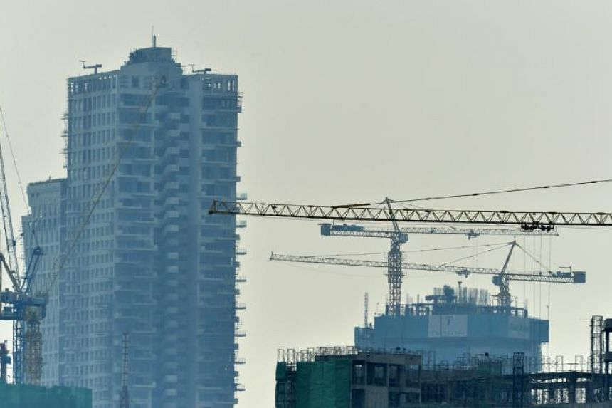 Buildings under construction in Sri Lanka's capital city Colombo, on March 13, 2019.