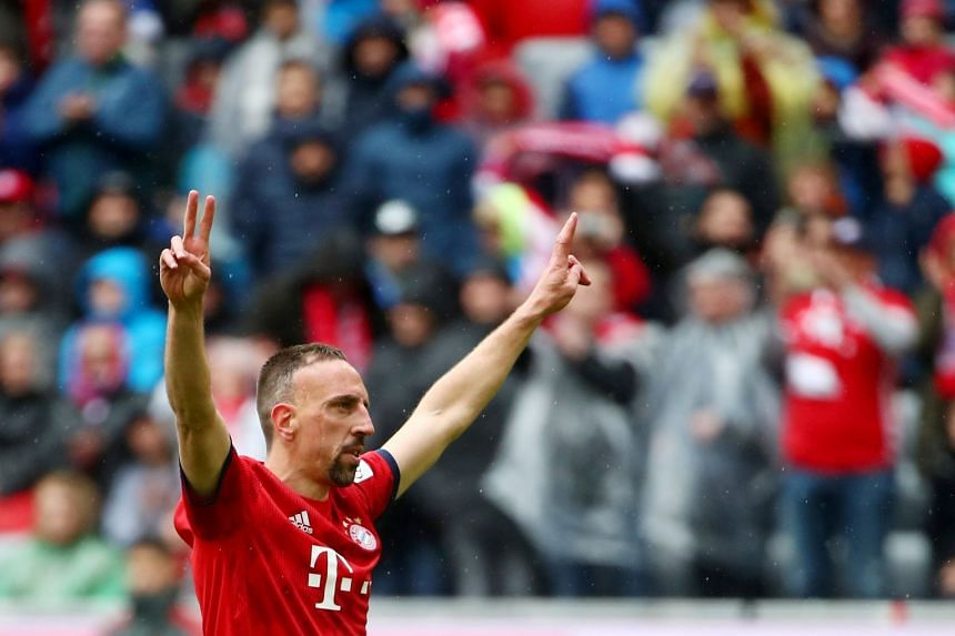 Ribery celebrates scoring for Bayern against Hannover 96 on May 4, 2019..