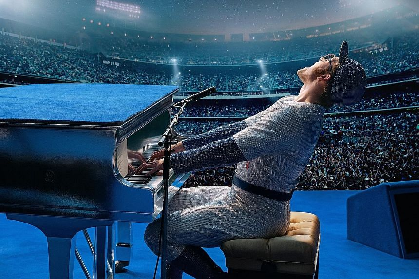 Actor Taron Egerton (top) plays rock legend Elton John (above) in Rocketman (left), which is debuting at Cannes Film Festival this month.