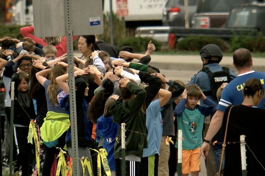 A photo said to be of children at the scene of the school shooting.