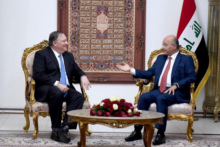 Iraq's President Barham Salih with US Secretary of State Mike Pompeo in Baghdad, Iraq, on May 7, 2019.