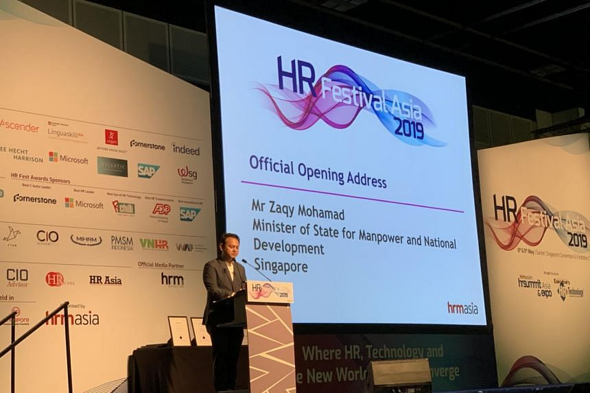 Minister of State for Manpower Zaqy Mohamad delivering the keynote address at the HR Festival Asia at Suntec Convention and Exhibition Centre.