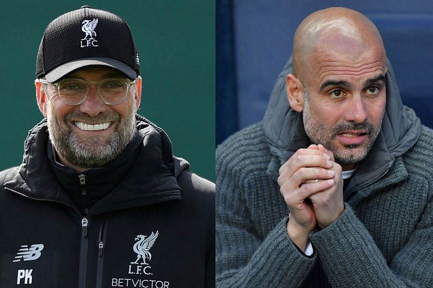 Klopp (left) and Guardiola are locked in a battle for the Premier League title.