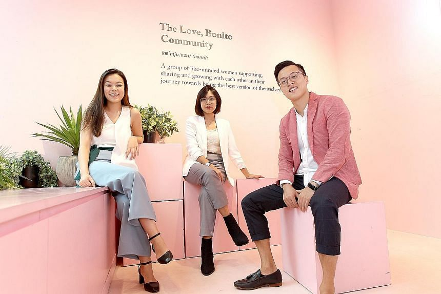 (From left) Love, Bonito's people executive Goh En Qi, head of business development Cindy Moy, and head of people and culture Brandon Lee. The home-grown company started using HR technologies last year to outsource the processing of medical claims an