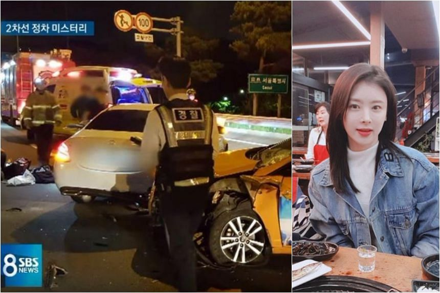Actress Han Ji-seong was seen stopping in the middle lane of the Seoul-bound three-way expressway with the emergency lights on. She then stepped out of the car and moved to the back of the vehicle.