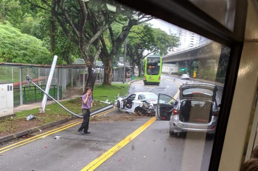 The car skidded and hit a taxi, a lamp post and a bus before coming to a stop in Commonwealth Avenue West on Wednesday.