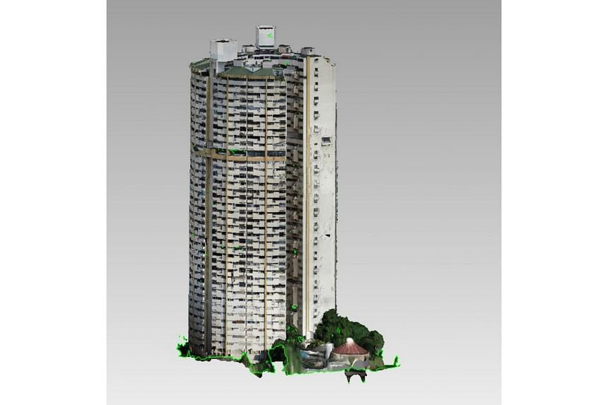 """CapitaLand said it spent three months capturing """"detailed images and videos"""" and the creation of 3D models of the building, created using photogrammetry technology with drones."""