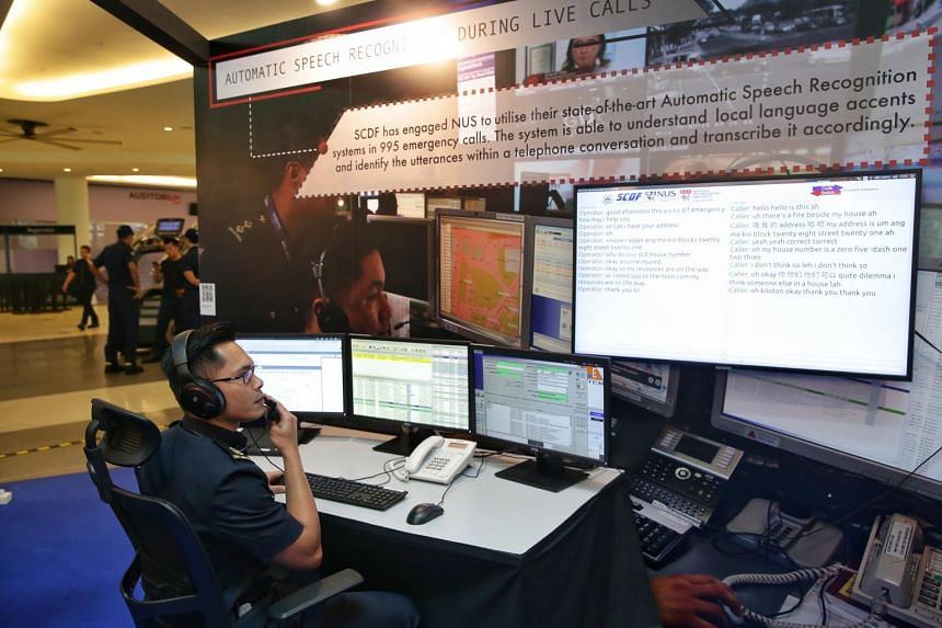 A demonstration of the automatic speech recognition system during live calls at the SCDF workplan seminar's media preview at Singapore University of Technology and Design on May 8, 2019.