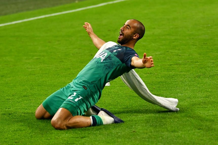 Tottenham's Lucas Moura celebrates after the match against Ajax Amsterdam on Wednesday (May 8).