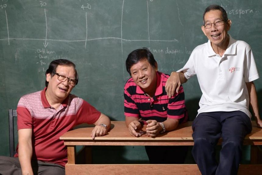 From left: Playwright Han Lao Da, and crosstalk veterans Johnny Ng and Yong Ser Pin.