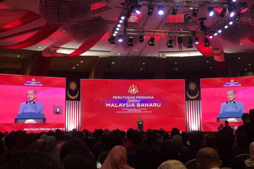 Malaysian Prime Minister Mahathir Mohamad giving his address at the Putrajaya International Convention Centre in conjunction with the first year of the Pakatan Harapan government on May 9, 2019.