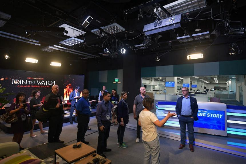 The guests saw what goes on behind-the-scenes of its new daily talk show, The Big Story, at the newsroom's recently completed video production studio.
