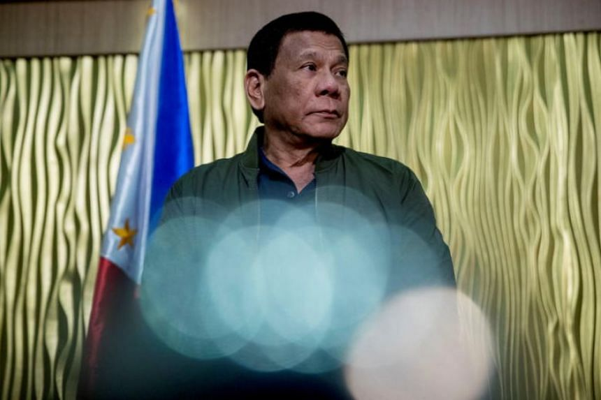 President Rodrigo Duterte attending a meeting at a military installation in Manila on Feb 28, 2019.