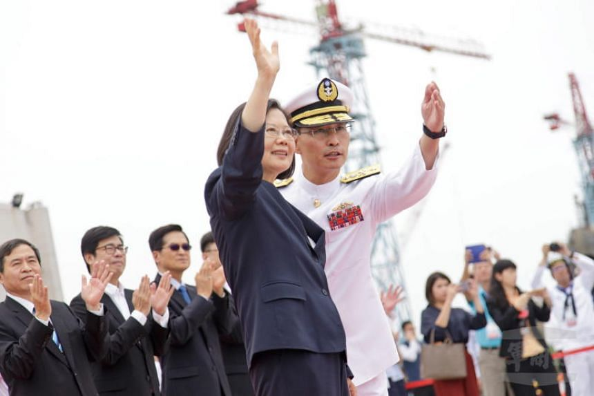 Taiwan President Tsai Ing-wen waving during the ground-breaking ceremony for a submarine manufacturing plant in Kaohsiung, Taiwan, on May 9, 2019.