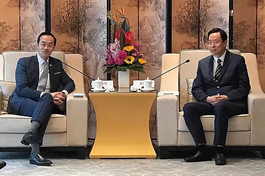 Senior Minister of State for Trade and Industry Koh Poh Koon (left) co-chairs the Singapore-Nanjing Cooperation Panel with Nanjing mayor Lan Shaomin. Dr Koh said he sees great potential for companies to develop deeper collaborations in innovation, ur