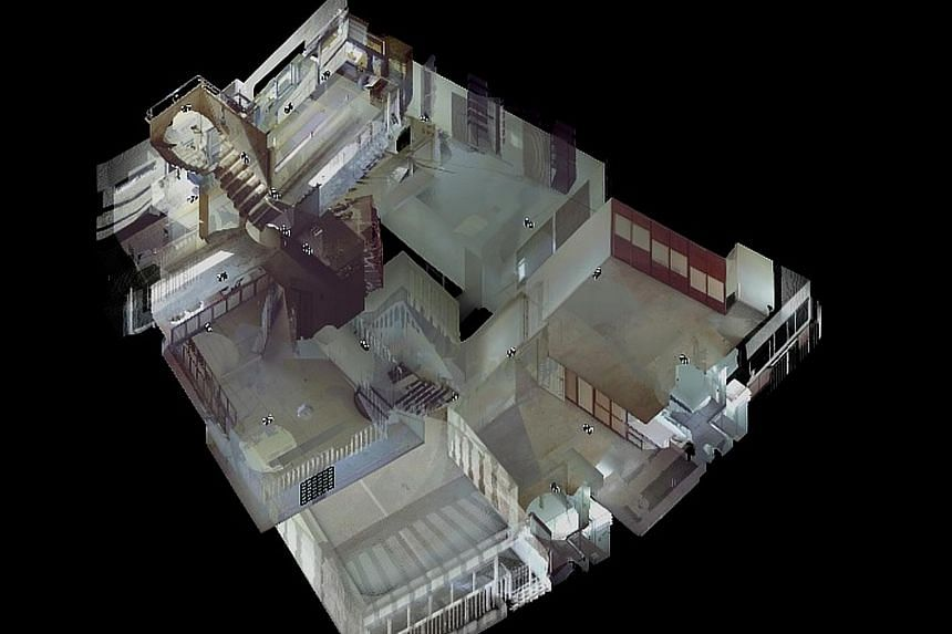 Above: This image of Pearl Bank Apartments was created using photogrammetry technology with the help of drones. Left: The floor plan of a typical four-bedroom unit has been digitally documented.